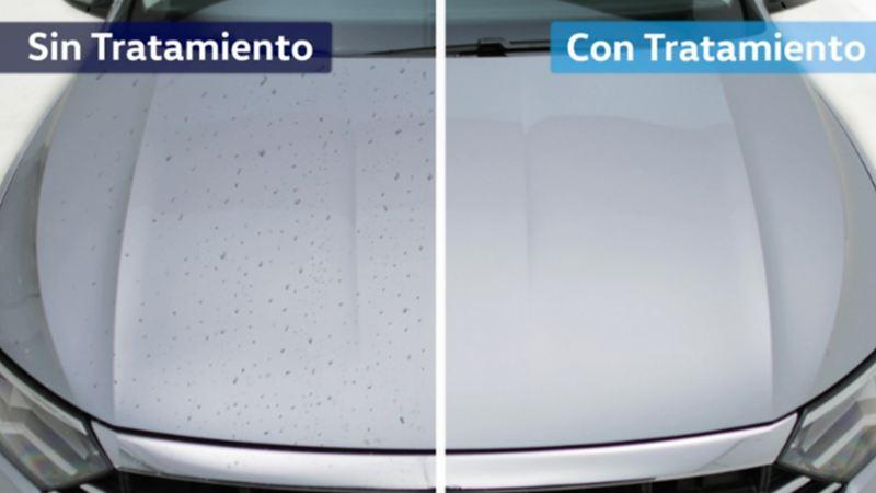 Comparación de cómo cuidar la pintura de un auto VW con nanotecnología