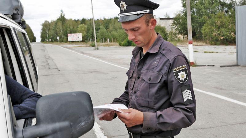 Kontroll vid gränsen till Tjernobyl