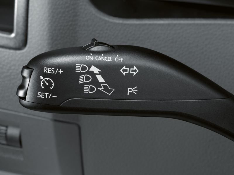 Close-up shot of the level for operating the cruise control system.