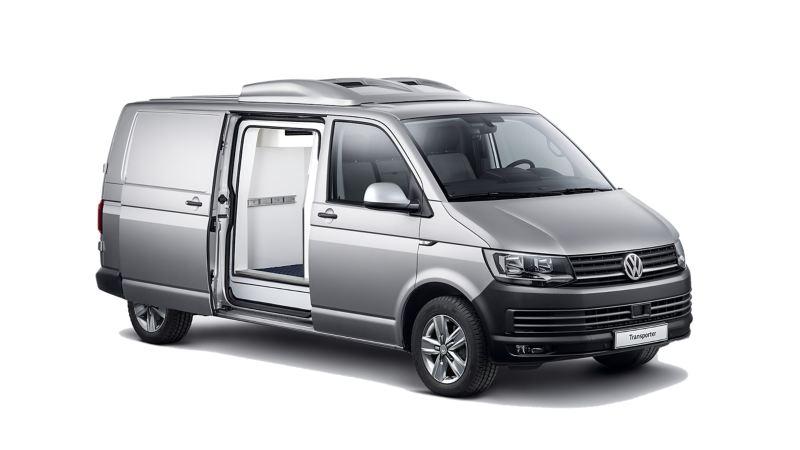 Volkswagen Transporter w zabudowie chłodnia/izoterma na seryjnym furgonie.