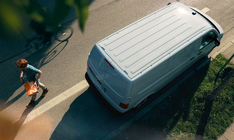The Transporter 6.1 Delivery Van from above in a parking spot.