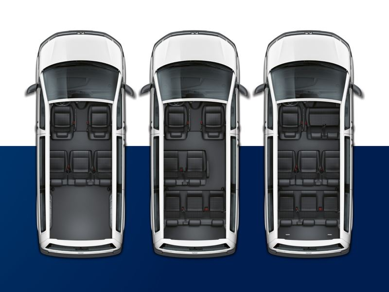 Three Volkswagen Transporter 6.1 Kombi from above. From left to right they have five, seven and nine seats.
