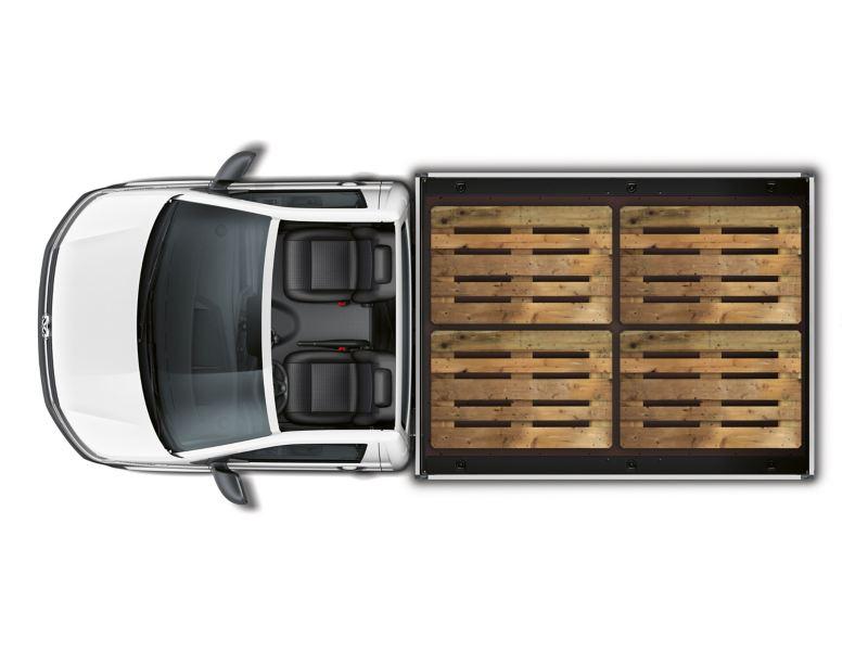 La superficie di carico di Transporter 6.1 versione Camioncino offre spazio sufficiente per caricare quattro euro-pallet, uno accanto all'altro.