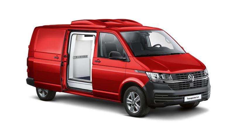 Ein roter umgebauter Transporter 6.1.