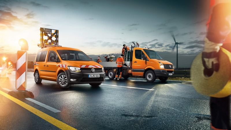 Caddy Van Orange en Crafter pick-up Orange 3/4
