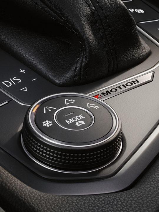 Detalle del selector de perfiles de conducción de un Volkswagen Tiguan Allspace