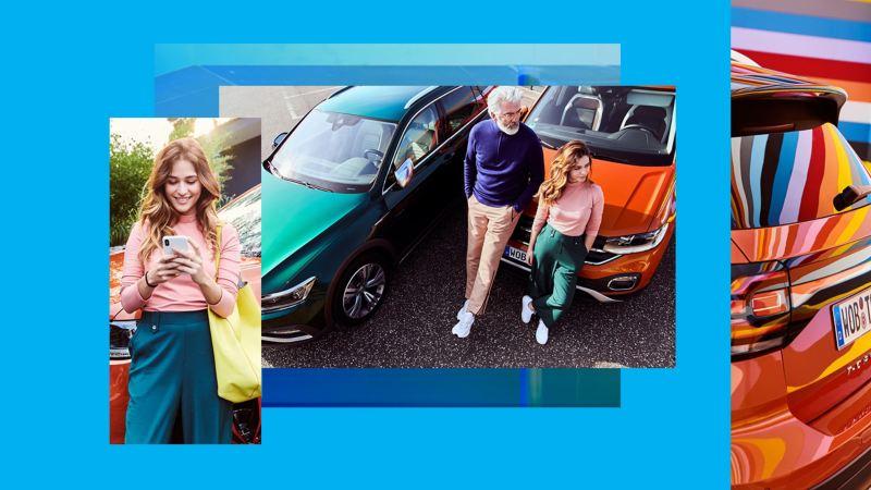 Composición gráfica de imágenes de mujer joven con hombre y coches Volkswagen