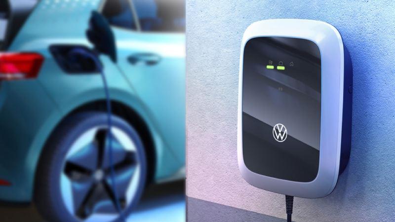 Primer plano de un cargador Wallbox para coches eléctricos conectado a un Volkswagen