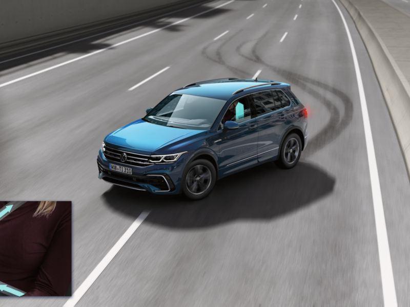 Gráfico del un Volkswagen Tiguan frenando de emergencia en autopista y el sistema de protección de ocupantes