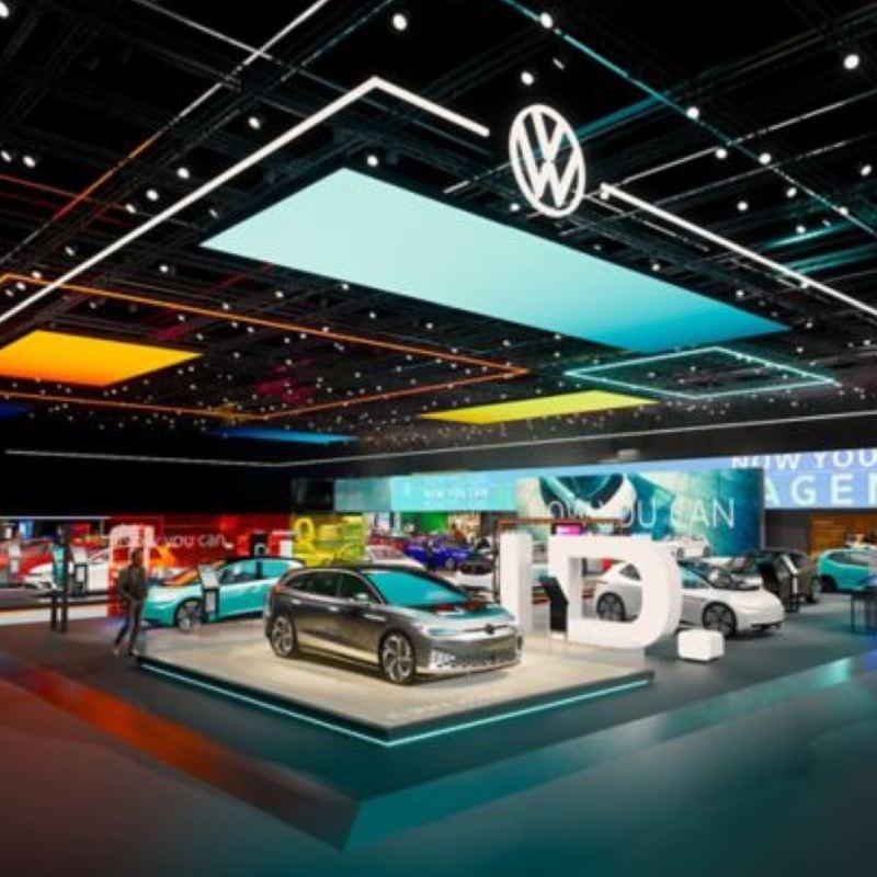 Vista virtual de los modelos ID. de Volkswagen en el Salón del Automóvil de Ginebra