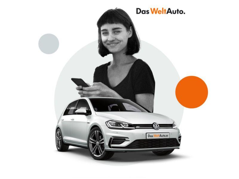 Composición gráfica de una mujer joven con móvil y un Volkswagen Golf