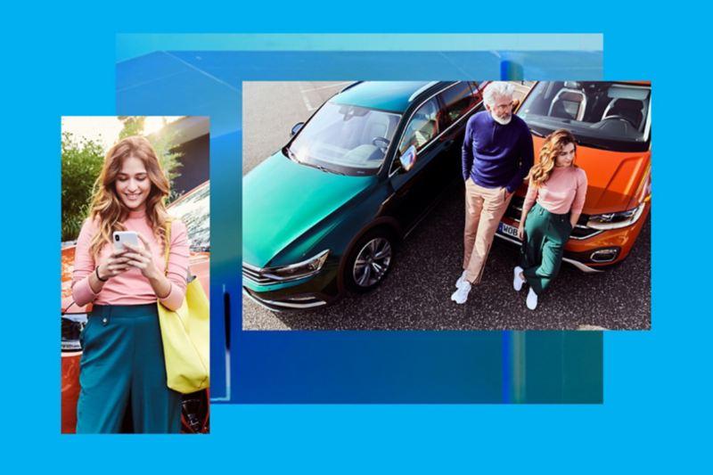 Composición gráfica de dos imágenes con personas junto a coches Volkswagen