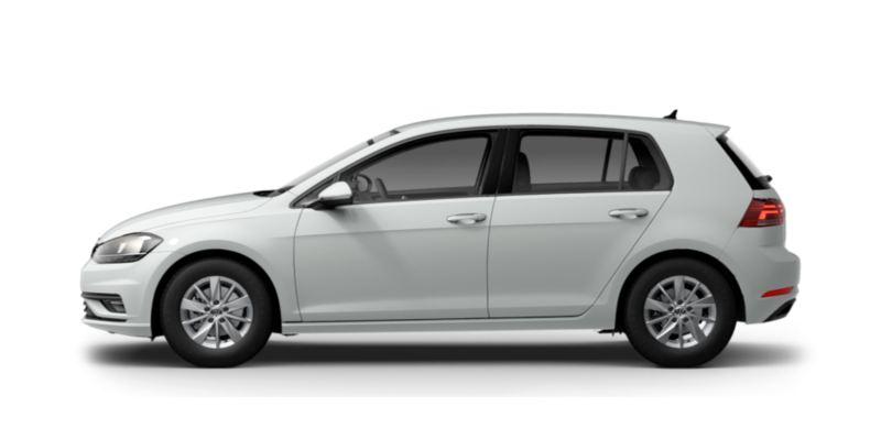 Vista lateral de un Volkswagen Golf blanco sin fondo