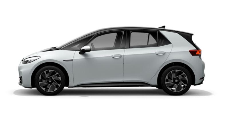 Vista lateral de un Volkswagen ID.3 Life blanco