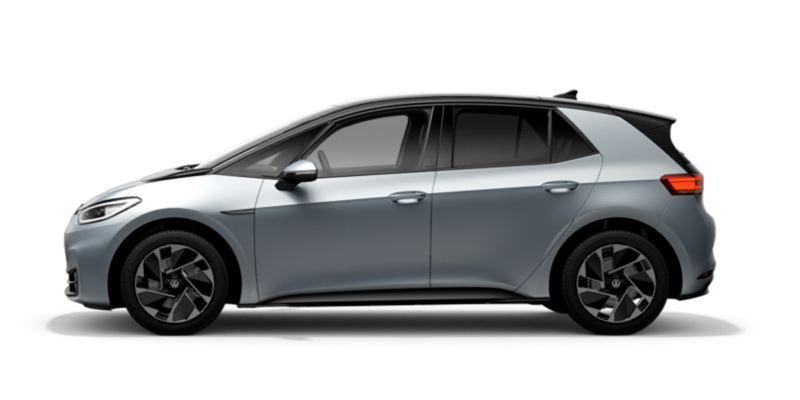 Vista lateral de un Volkswagen ID.3 Style gris