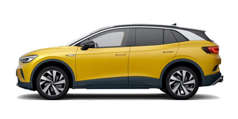 Vista lateral de un Volkswagen ID.4 1st amarillo
