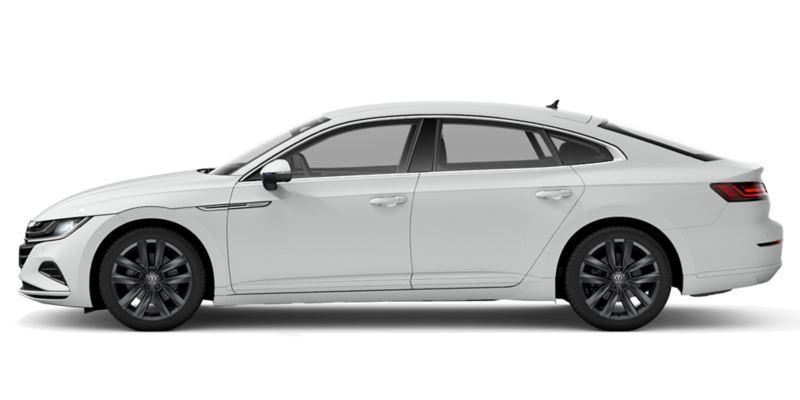 Vista lateral de un Nuevo Volkswagen Arteon blanco sin fondo