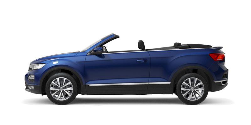 Vista lateral de un T-Roc Cabrio azul con la capota bajada