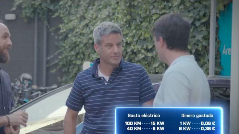 Tres hombres hablando en frente de un Volkswagen eléctrico con una gráfica de gasto sobre impresa