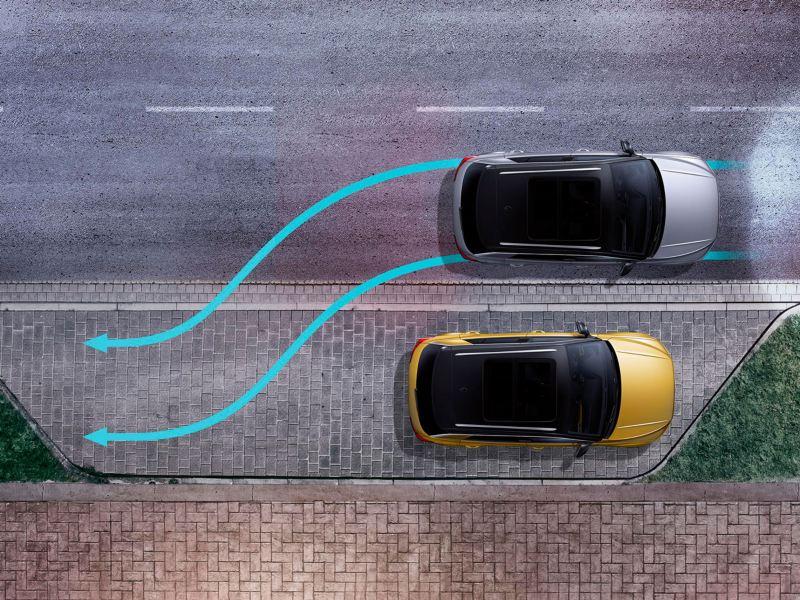 Gráfica del asistente de aparcamiento de un T-Roc bicolor