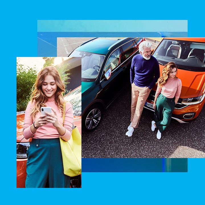 Composición gráfica de imágenes de mujer joven, hombre y coches Volkswagen