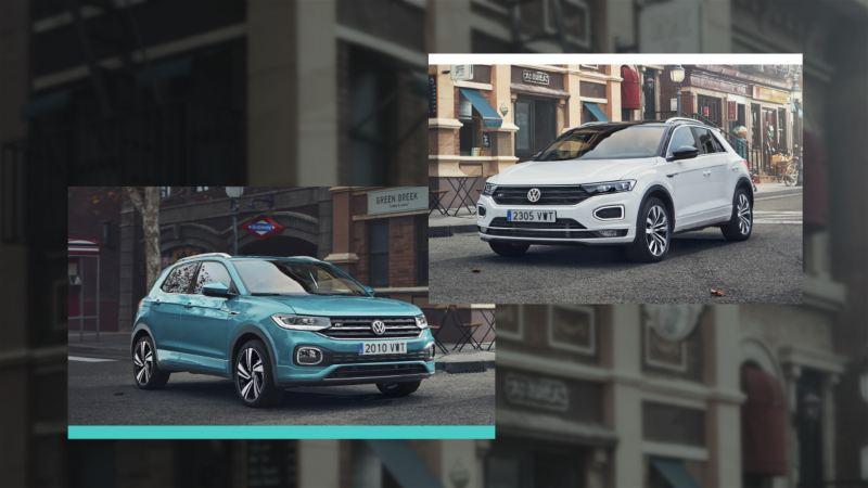 Composición gráfica de T-Cross y T-Roc  de Volkswagen sobre la imagen de una calle