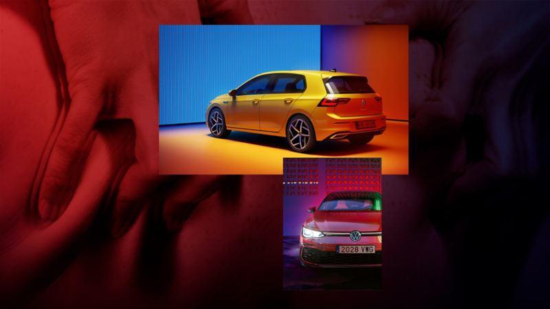 Composición gráfica de imágenes de Golf 8 y Golf 8 GTI de Volkswagen