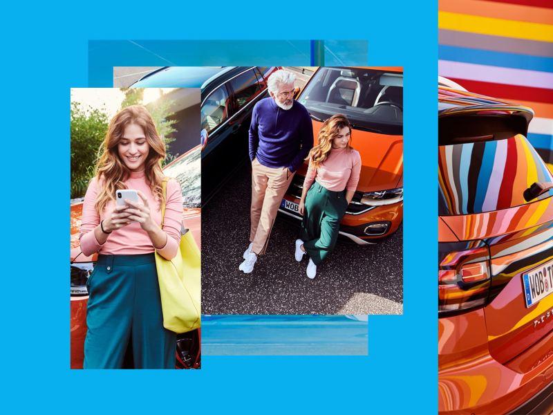Imagen compuesta de personas con un Volkswagen T-Cross