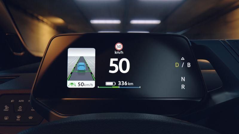 Pantalla del salpicadero de un Nuevo Volkswagen ID.3 en un tunel