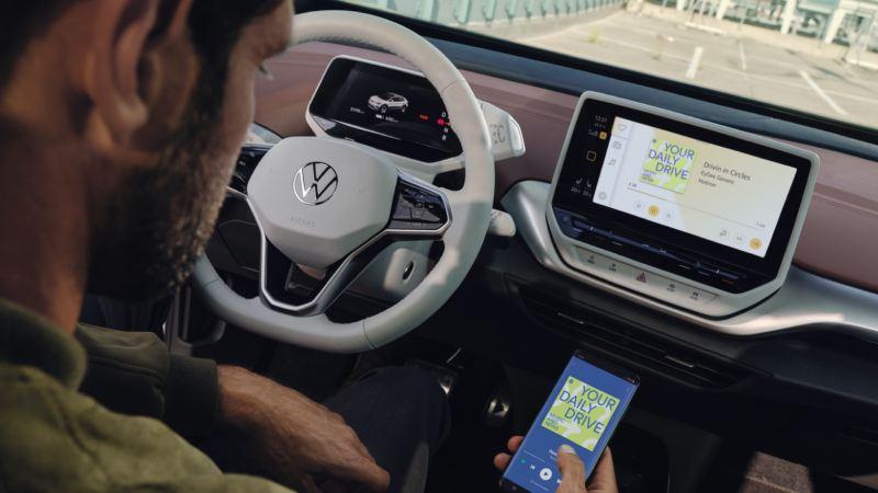 Vista del salpicadero y la pantalla de un Volkswagen ID.4