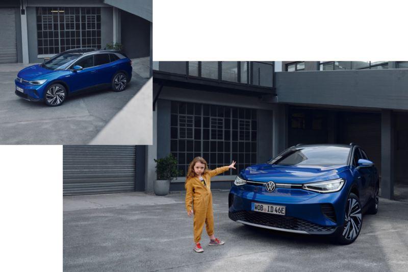 Composición de un Volkswagen ID.4 azul aparcado en una casa con una niña de amarillo delante