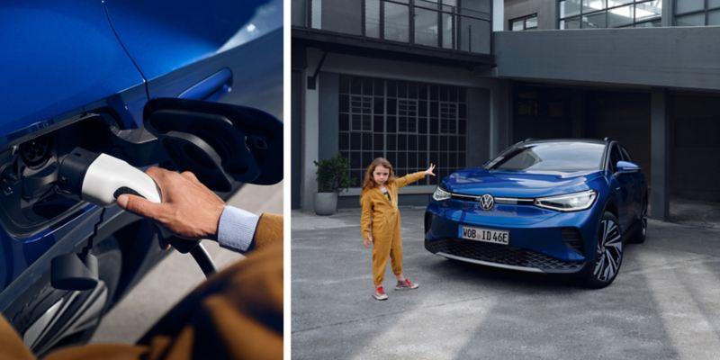 Composición del detalle de una mano conectando un cargador y una niña de pie delante de un ID.4 azul aparcado