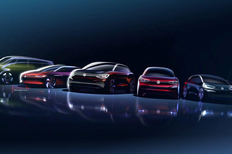 La familia Volkswagen ID. (bocetos de diseño)