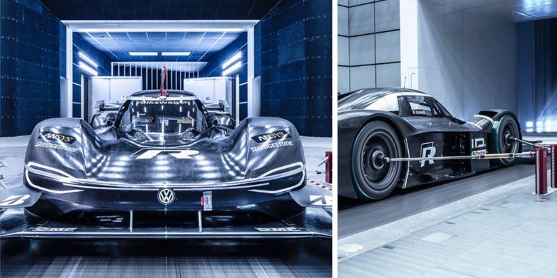 Composición de una vista frontal y otra lateral del Volkswagen ID.R en el túnel de viento