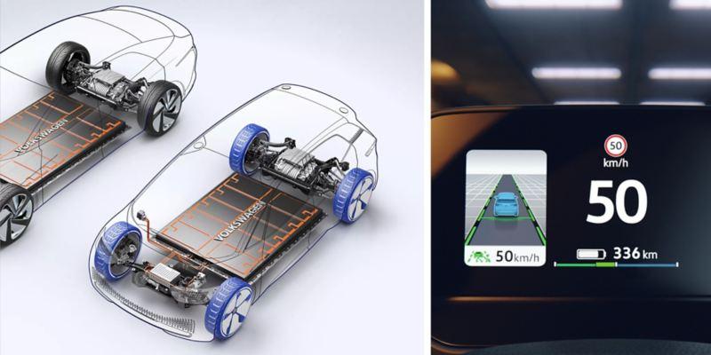 Composición gráfica del sistema MEB y del indicador de batería de un Volkswagen