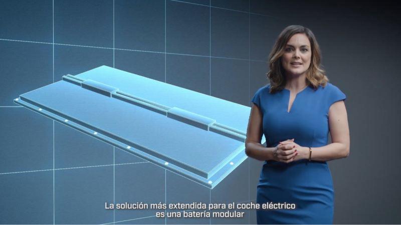 Mujer mirando la cámara delante de un gráfico de una batería de ion-litio