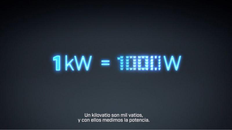Gráfico de equivalencia de 1kW a 1000W con letras de neón azules sobre fondo negro