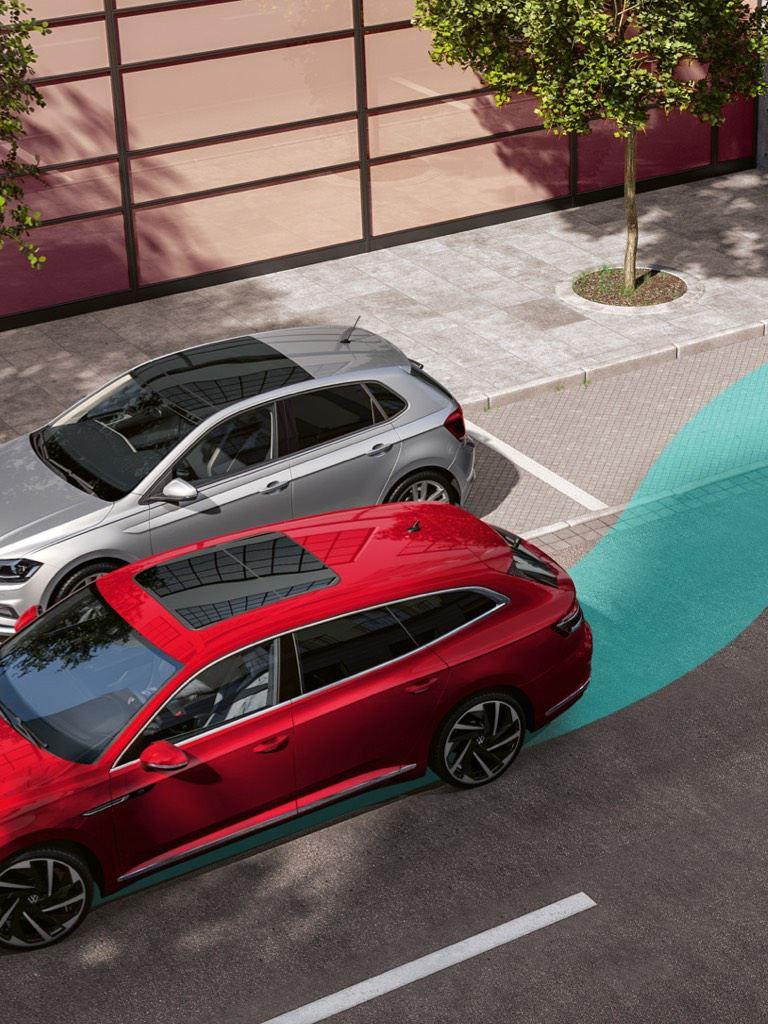 Gráfico del asistente de aparcamiento de un Nuevo Volkswagen Arteon rojo
