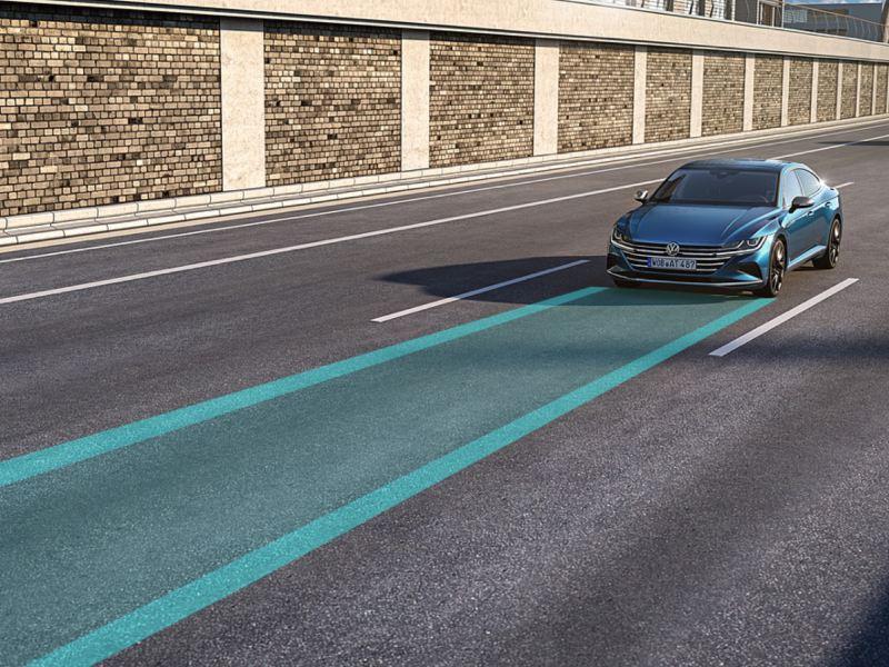 Gráfico del control de crucero adaptativo de un Nuevo Volkswagen Arteon azul