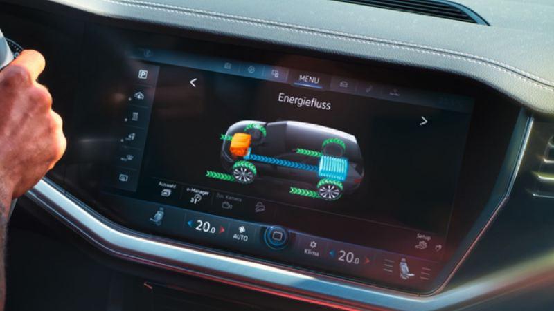 Gráfico del sistema de flujo de energía en la pantalla del Volkswagen Touareg eHybrid