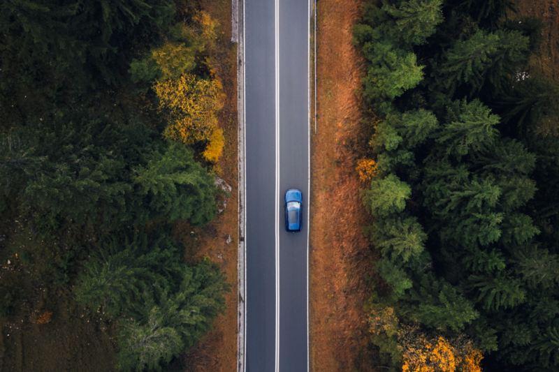 Volkswagen Touareg R visto desde arriba circulando por una carretera en medio del bosque