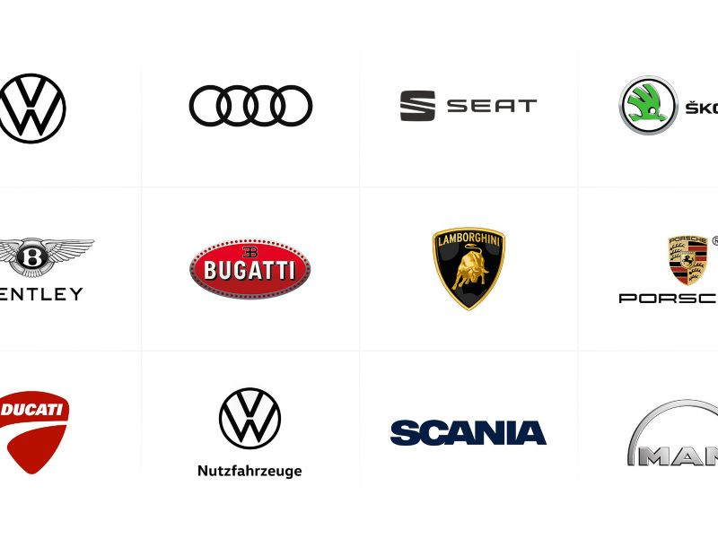 The logos of the Volkswagen Group's vehicle brands