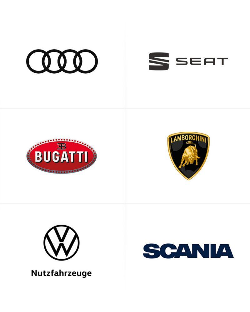 Die Logos der Automarken des Volkswagenkonzerns