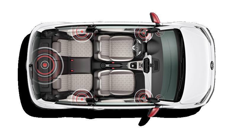 Aufsicht auf den Innenraum des up! beats mit grafischer Darstellung der Lautsprecher-Verteilung im Interieur