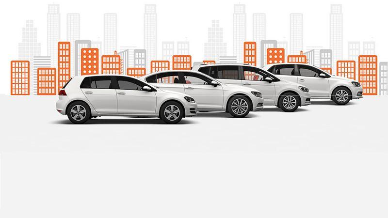 Four Das WeltAuto Volkswagen cars