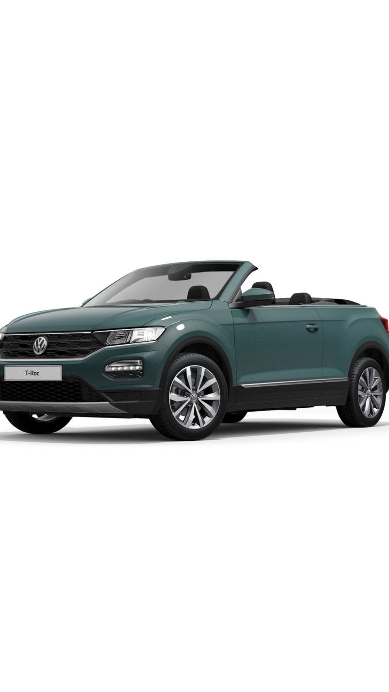 3/4 front view of a Ivy Green Volkswagen T-Roc Cabriolet Design