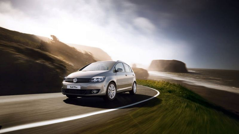 A Golf Plus driving on the road
