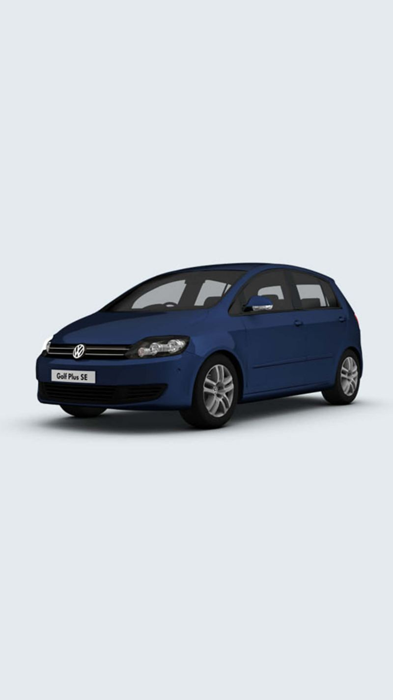 3/4 front view of a blue Volkswagen Golf Plus SE.