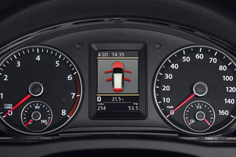 A close-up of the safety gage inside a Volkswagen Golf.