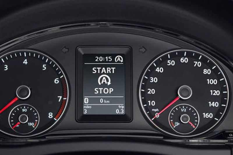 A close-up of the speedometer inside a Volkswagen Golf